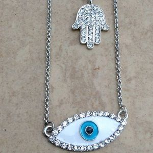 Jewelry - Silver Tone Hamsa Evil Eye Double Pendant Necklace